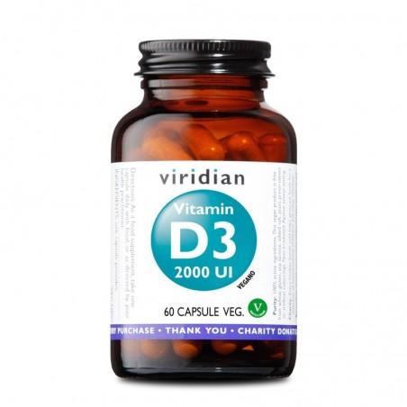 Integratore Alimentare Vitaminico Vegano Viridian - Vitamin D3 2000 UI 60 Capsule